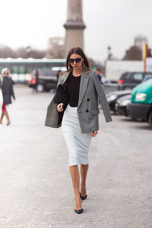 check print blazer and white pencil skirt for 9 to 5 chic