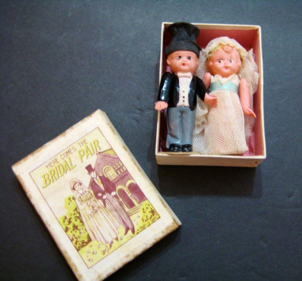 wedding cake topper celluloid orig box antique bride groom