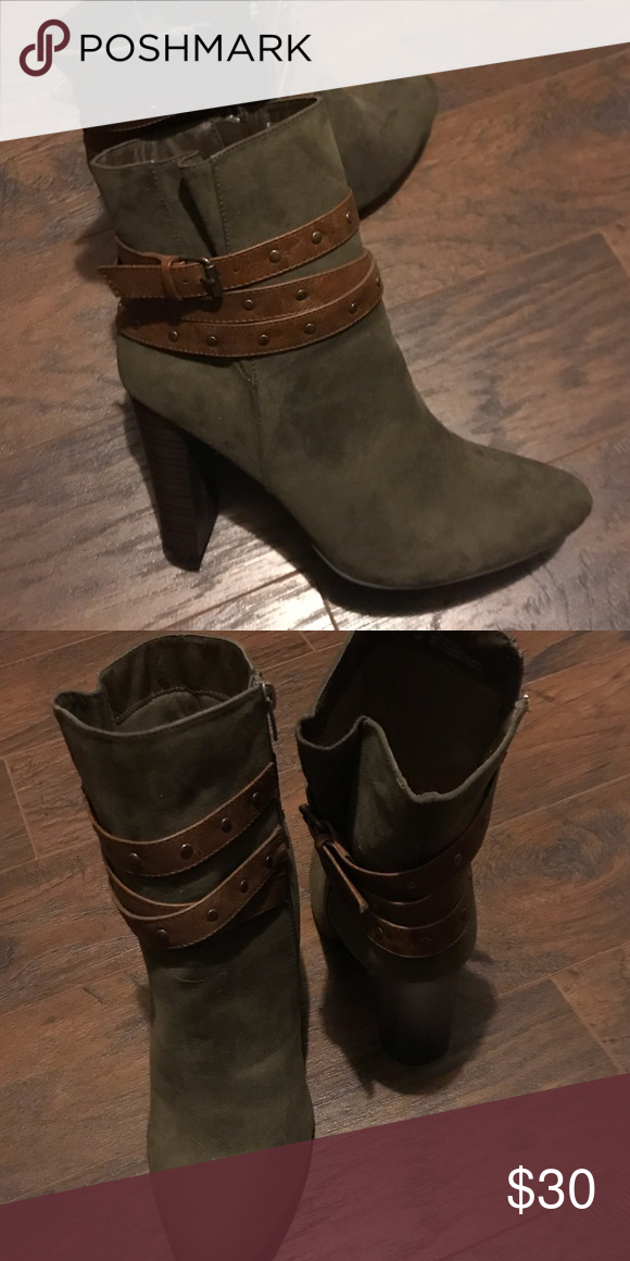 """1043624f8dd NWOT JUSTFAB Olive Booties Olive colored 4.5"""" heel. Size 11. Never ..."""