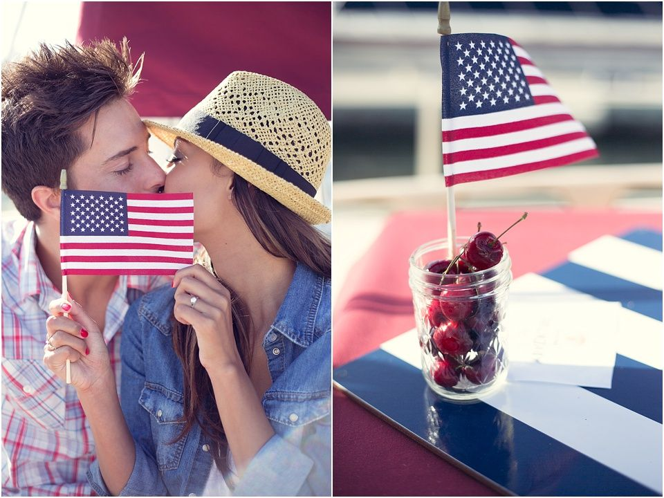 4th of July | Patriotic | Engagement Photo Shoot | Red, White and Blue | American Flag | Stars & Stripes
