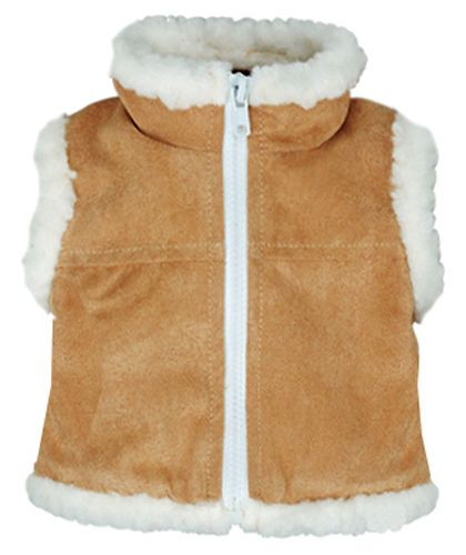 "Tan Sherpa Trim Vest for 18/"" American Girl Boy Logan Doll Clothes"