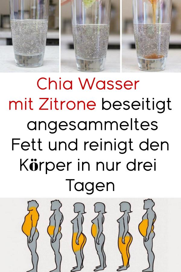 Chia-Wasser mit Zitrone entfernt angesammeltes Fett und reinigt den Körper in …