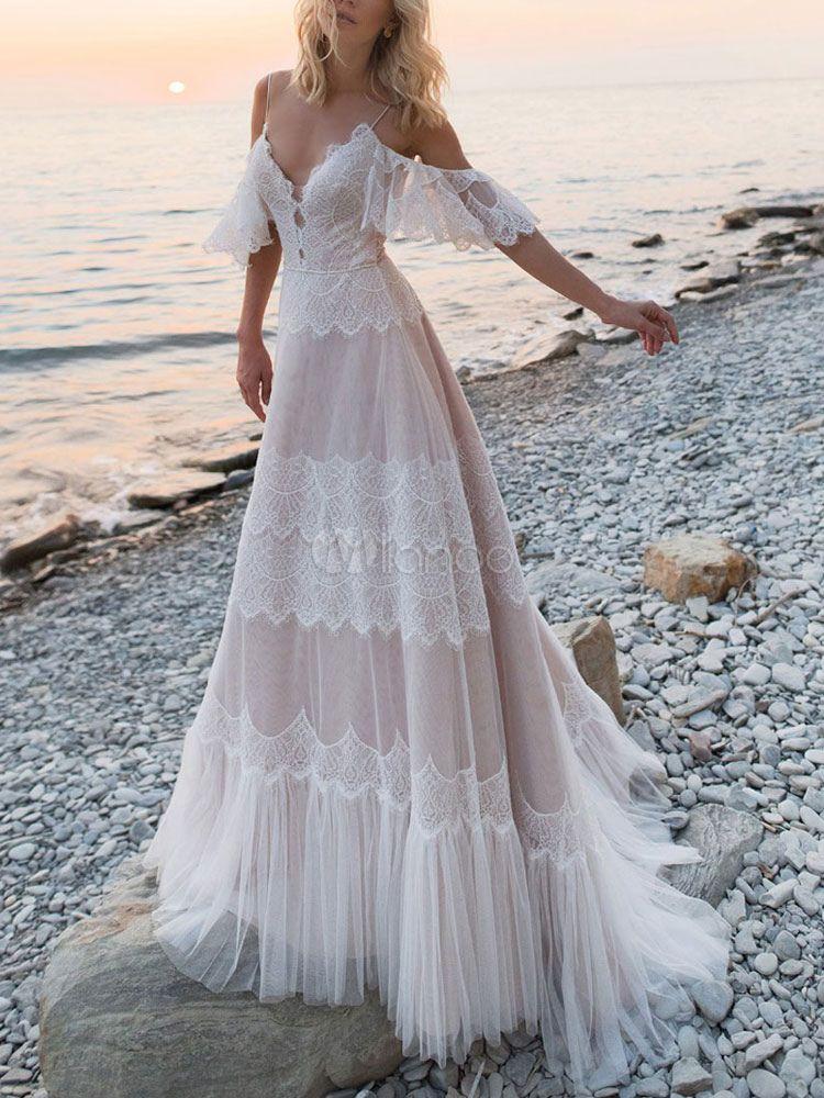 Boho Wedding Dresses 2020 A Line Deep V Neck Straps Lace Short Sleeve Bridal Gown For Bea Beach Wedding Dress Boho Short Sleeve Bridal Gown Beach Wedding Dress
