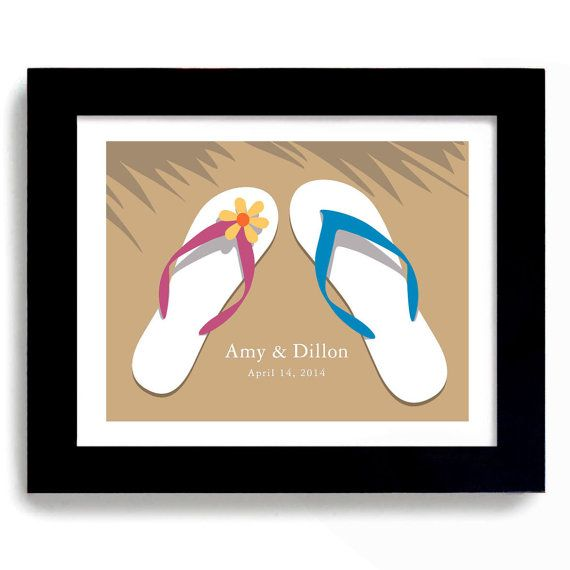 Wedding Gifts Website: Beach Wedding Gift Flip Flops Art Print Personalized For