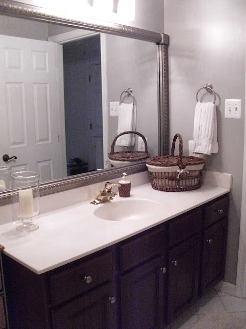 Bathroom mirror frame i sell these easy way to update for Bathroom cabinets update ideas