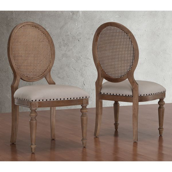 Elements Weathered Oak Cane Back Dining Chairs Set Of 2