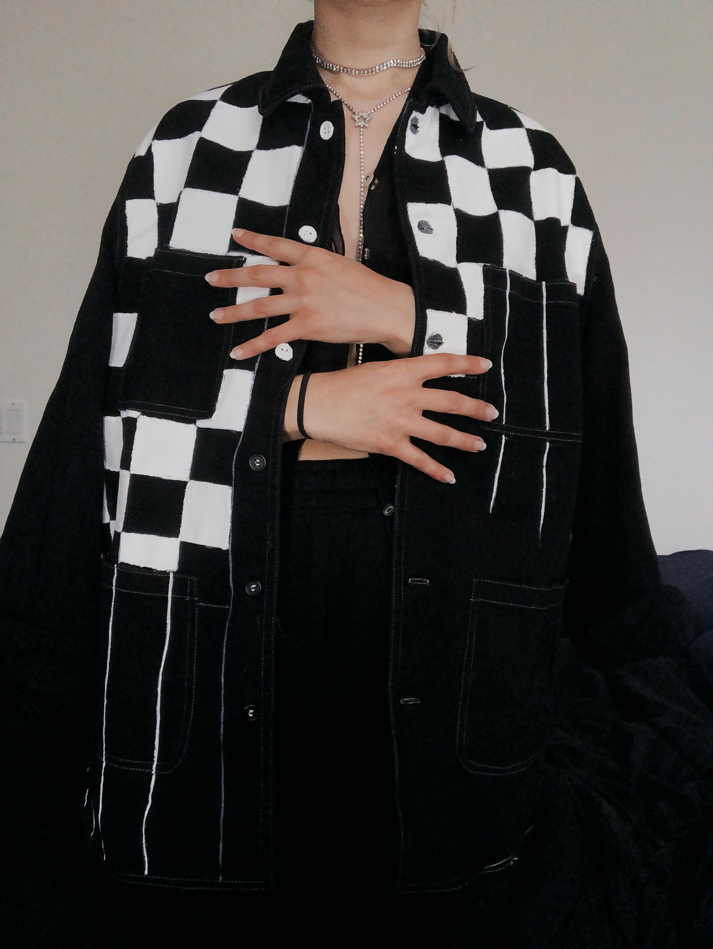 Checkered Jacket Checkered Jacket Painted Denim Jacket Ashley Clothes [ 3088 x 2320 Pixel ]