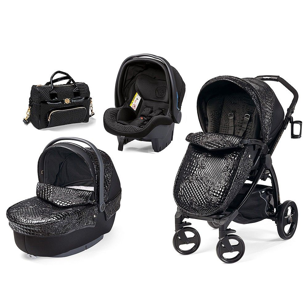 Young Versace Baby White Stroller And Travel Set Black Quilted Travel System For Baby 26 Travel Baby