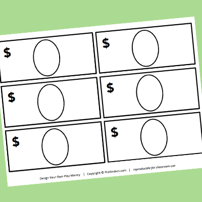 Pretend Play Writing Printables Felt Play Money Play Money