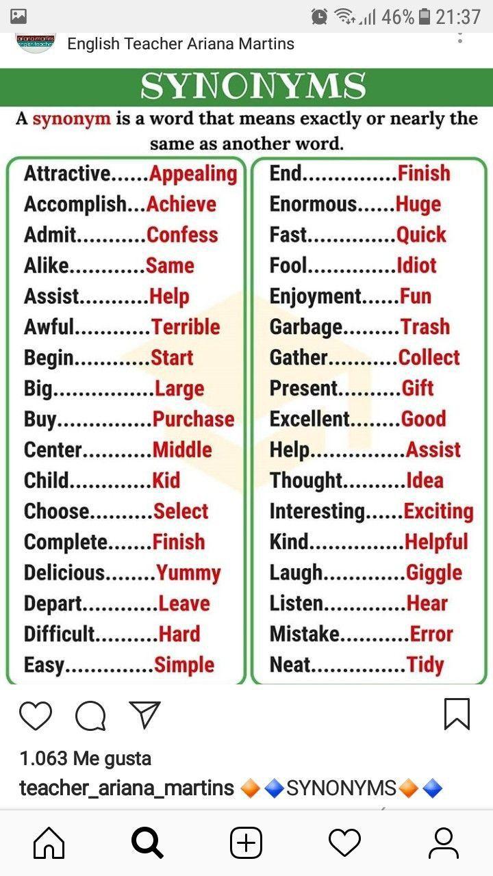 Pin De Elenation En Vocabulary Vocabulario Ingle Aprender Verbos 11 What Word Mean Almost The Same A Paraphrase