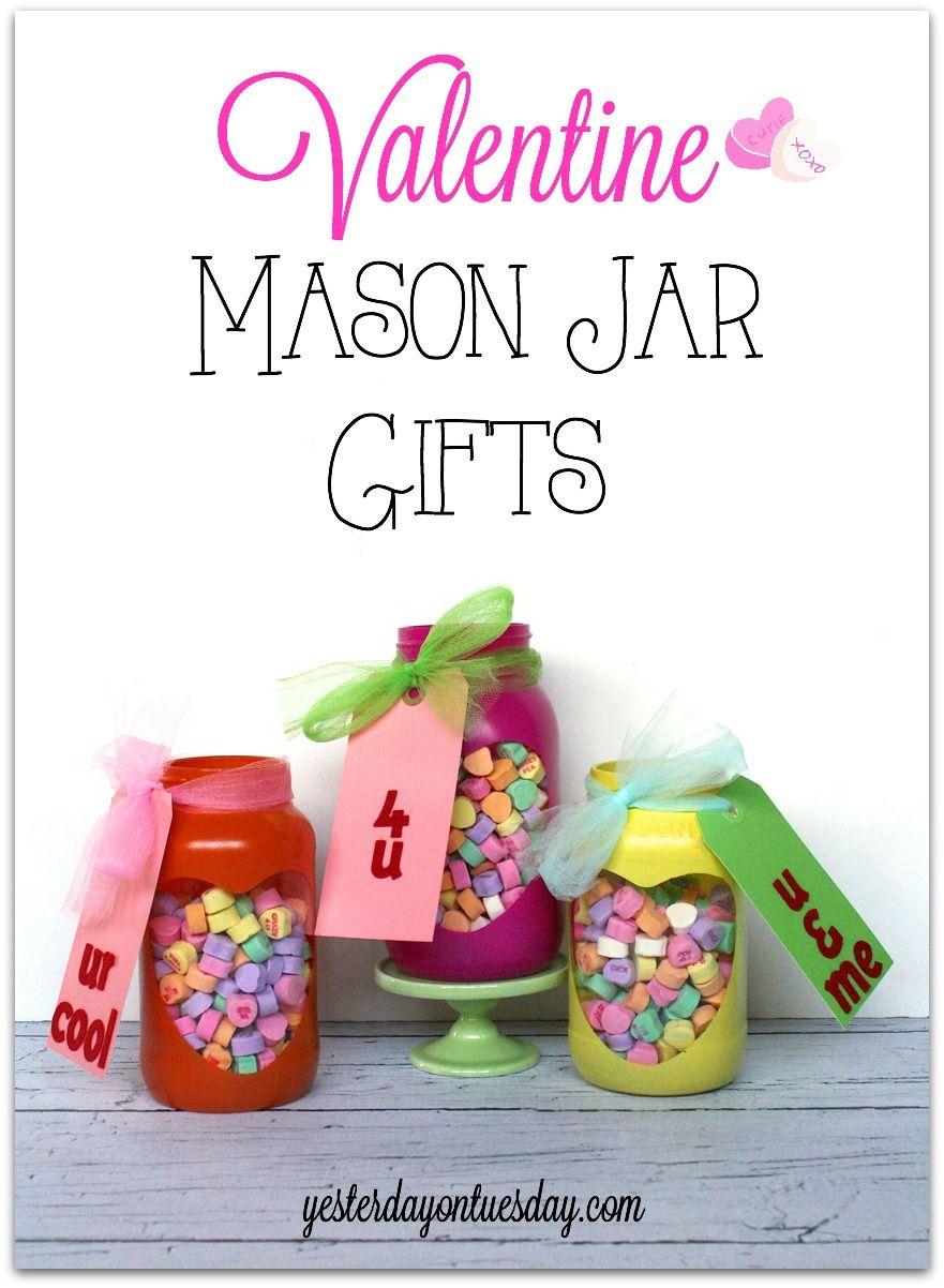 Valentine Conversation Hearts Mason Jar Gift Idea mason jars