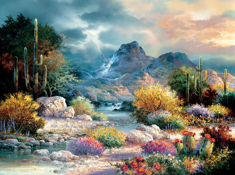Springtime Valley Mountains Jigsaw Puzzle SunsOut puzzles ...