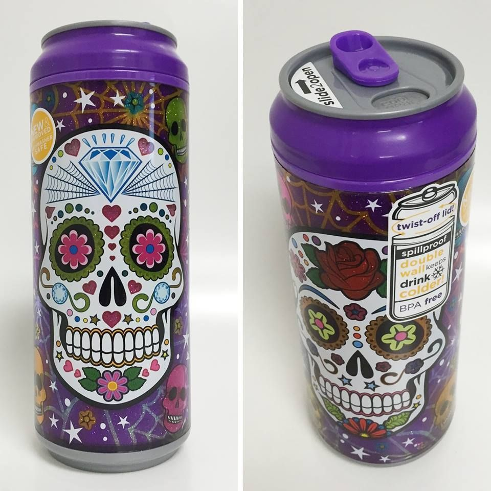 Cool Gear Can 16oz (Sugar Skulls Purple) - My Sugar Skulls