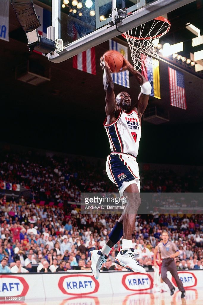 Michael Jordan Of The United States Dunks Against Canada During