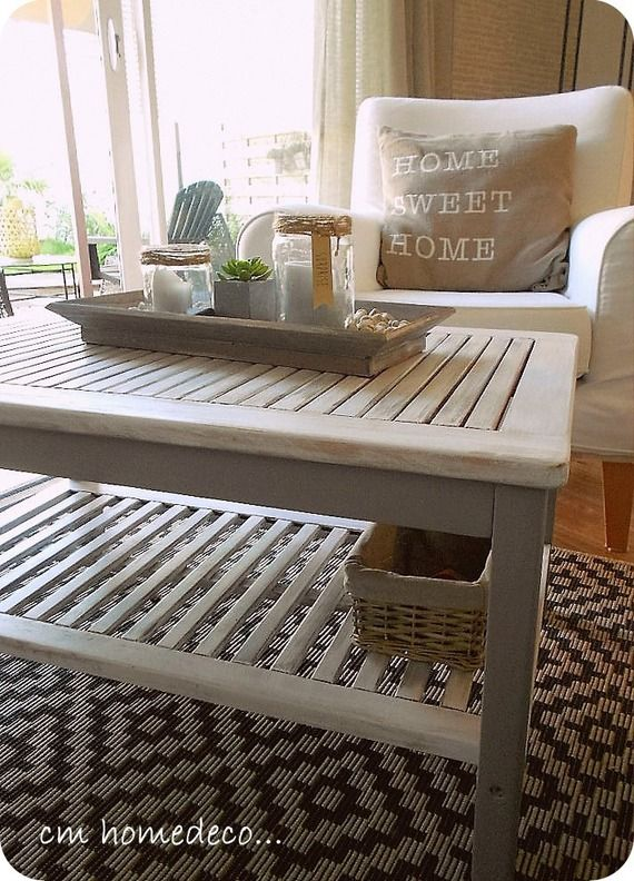 Meuble Relooke Table Cap Ferret Cerusee Gris Et Blanc Patine