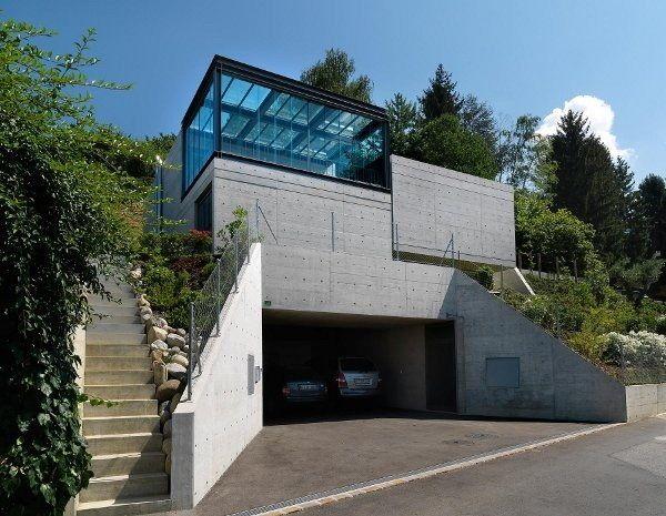 modernes haus beton fassade garage glas treppen | villas, Moderne deko