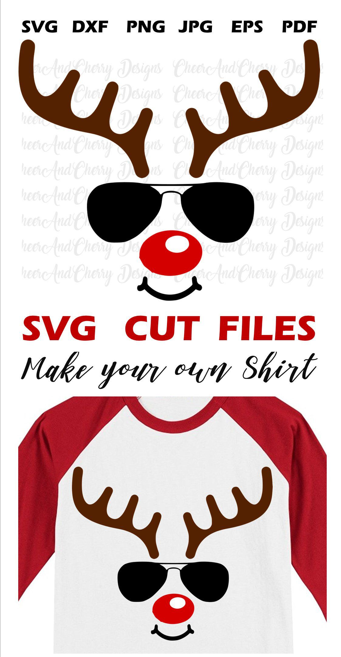 excited to share the latest addition to my etsy shop reindeer with glasses svg [ 1123 x 2161 Pixel ]
