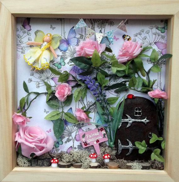 Fairy door scene box frame fairy garden wall art by for Secret fairy doors by blingderella
