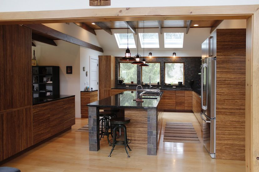 Plyboo Neopolitan residential wall paneling, table, and kitchen ...