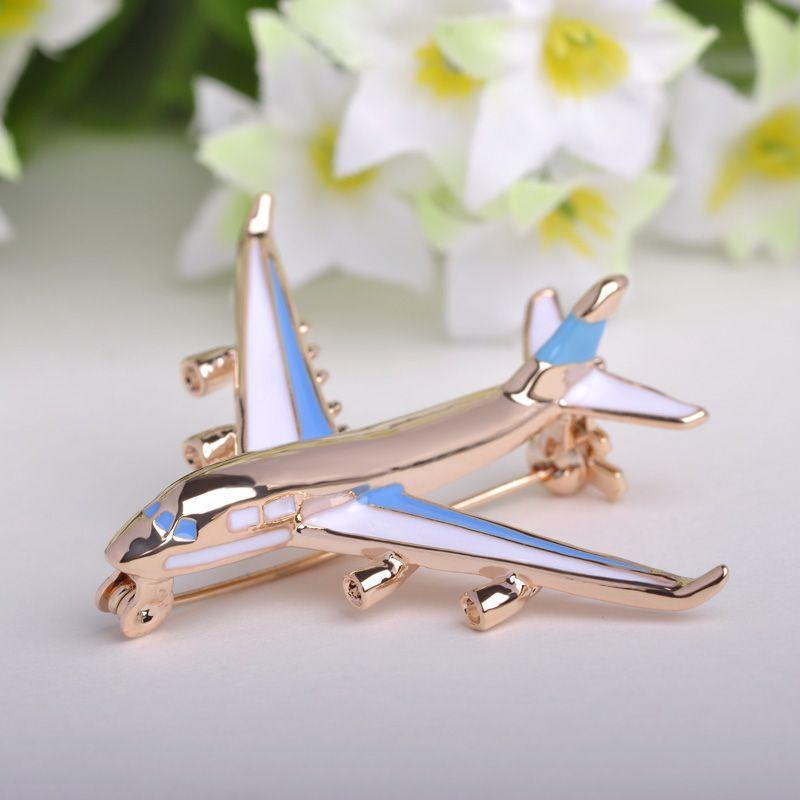 Blucome niedliche kleine flugzeug brosche blue emaille vergoldet metall broschen pin kampfflugzeuge modell schmuck anzug kleidung clips