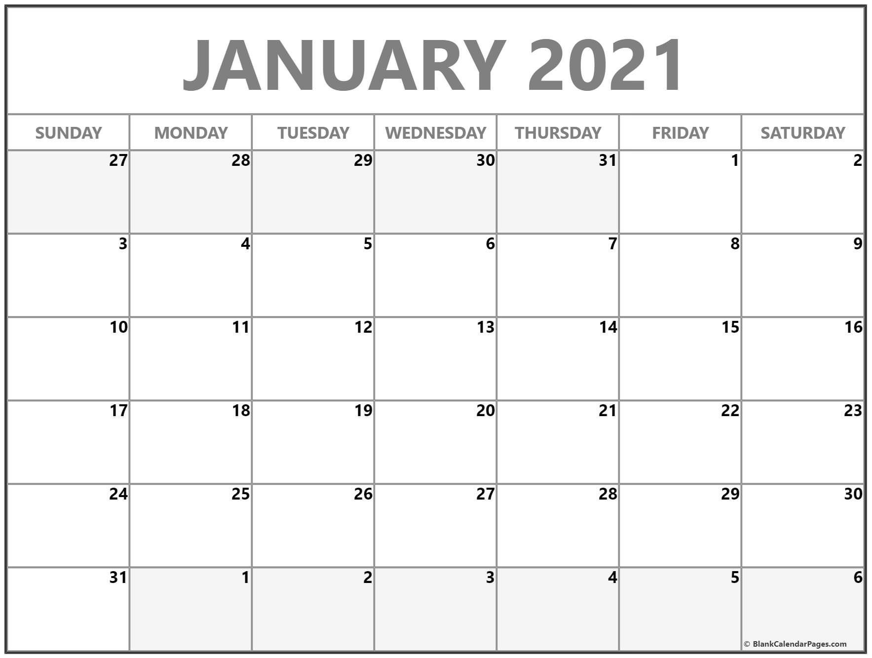 January February 2021 Calendar Template In 2020 Printable Blank Calendar Printable Calendar Design Printable Calendar Template