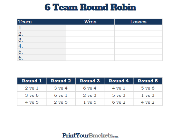 Team Round Robin Printable Tournament Bracket  VBall