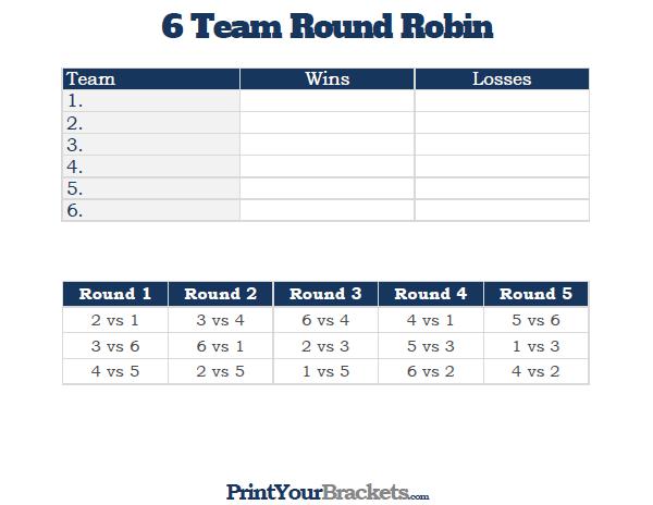 image regarding Printable Acc Tournament Bracket named Printable 6 Staff Spherical Robin Match Bracket Rook