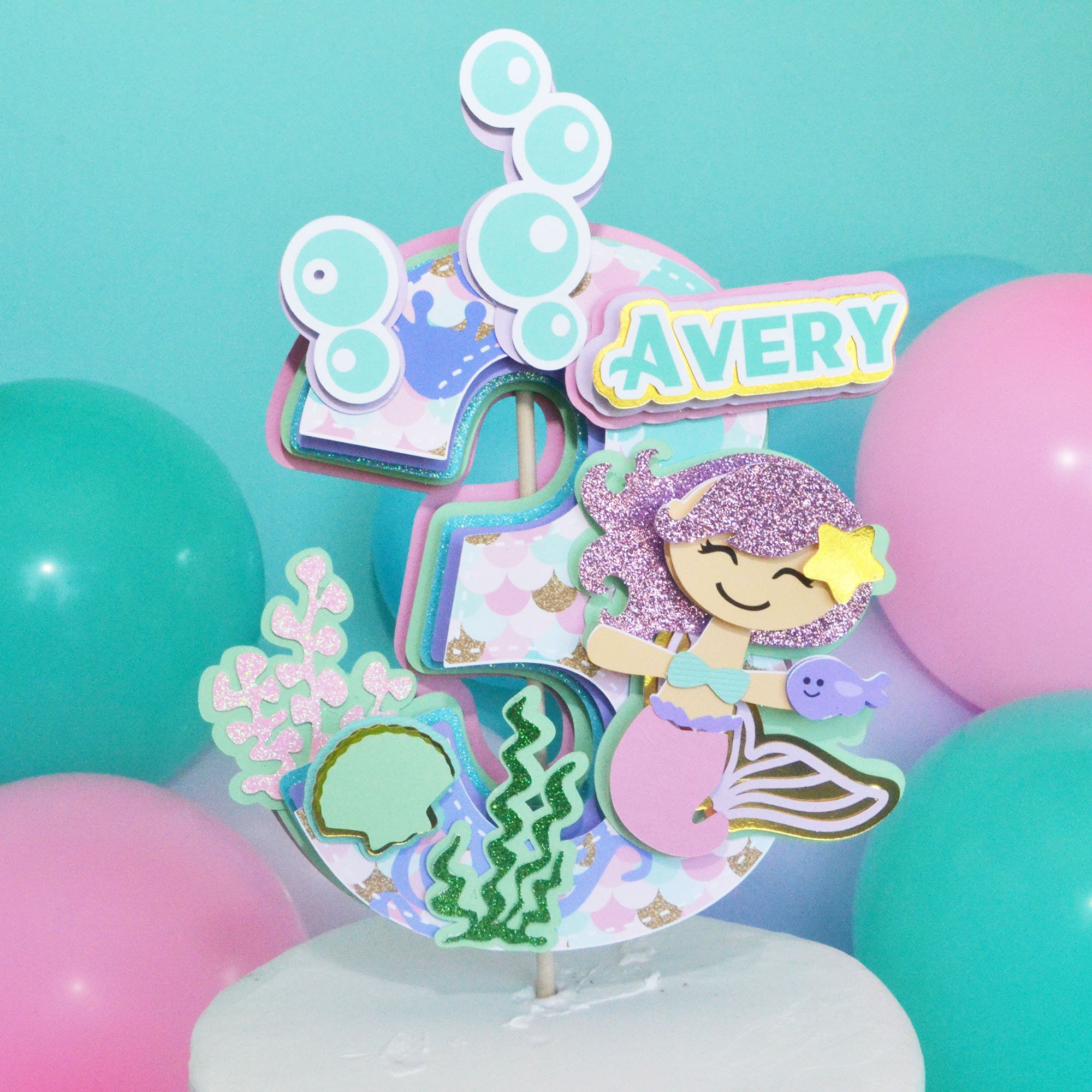 Mermaid Cake Topper Under The Sea Cake Topper Mermaid 3rd Birthday 100 Original Cake Topper Festa Da Sereia Topper De Bolo Bolo