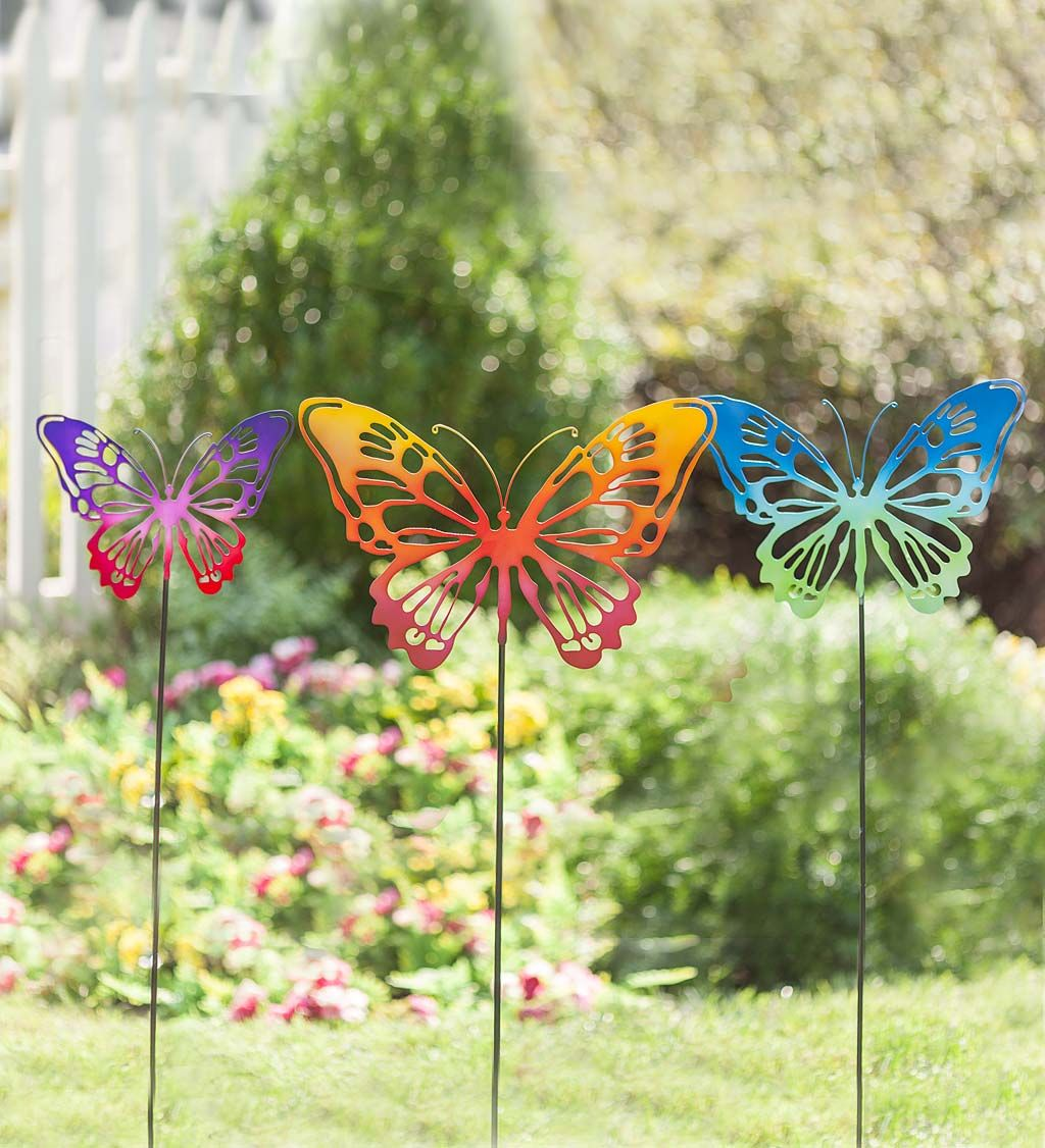 Charmant Brilliant Butterfly Garden Stakes Brighten Your Yard. This Kaleidoscope Of  Butterflies Adds An Instant Pop Of Color And Beauty Anywhere: Stake Them In  A ...