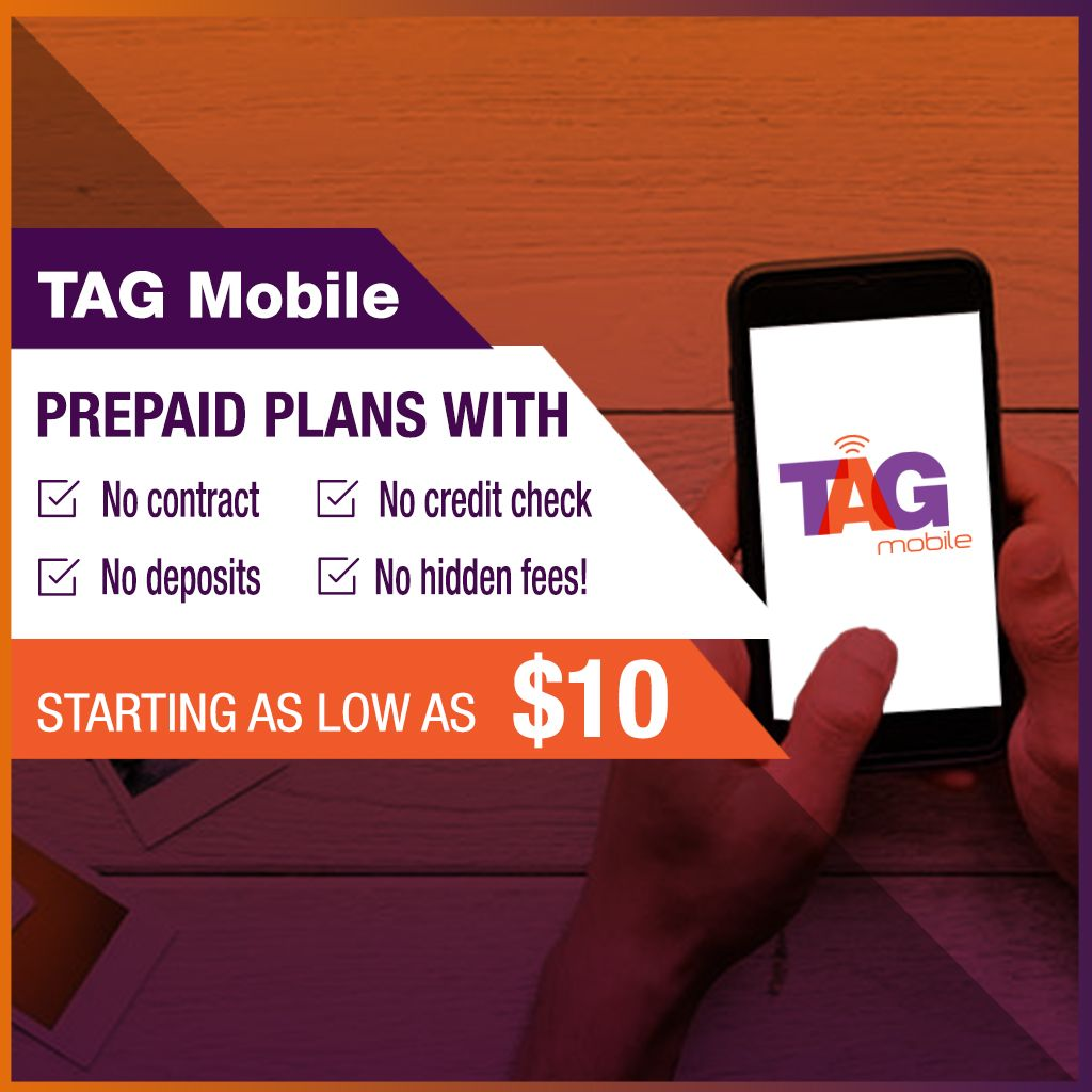 TAG Mobile Prepaid plans with No contract, No credit check