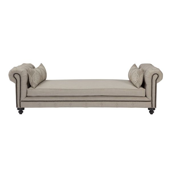 Rolled Arm Tufted Barley Linen Upholstered New Chaise Lounge Daybed With Pillows  sc 1 st  Pinterest : roll arm chaise - Sectionals, Sofas & Couches