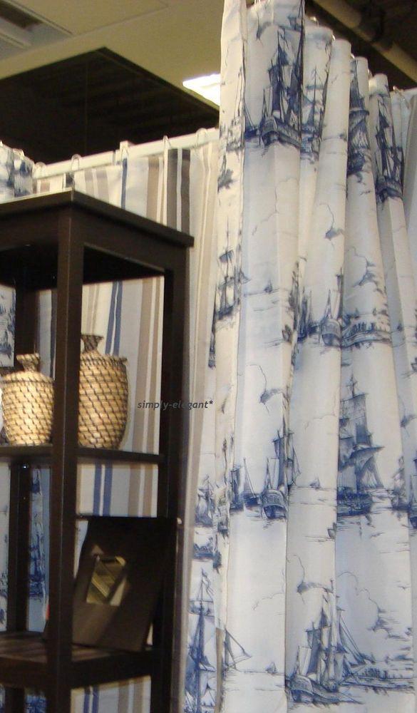 Details About IKEA Shower Curtains 71x71 AGGERSUND Boats Sea Ships Ocean Blue White Bathroom