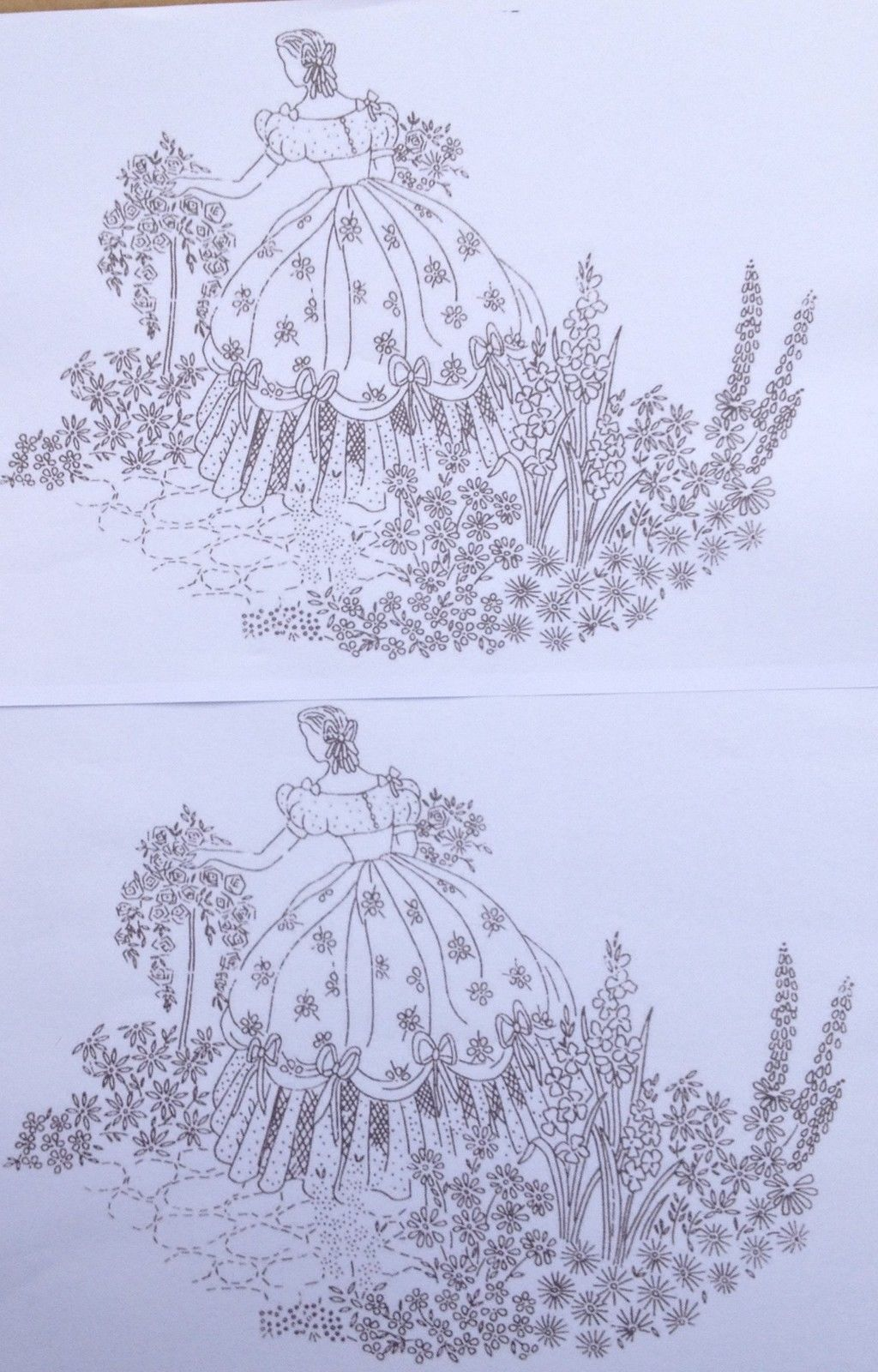 Crinoline Lady in Beautiful Garden 4 x A4 iron on embroidery ...