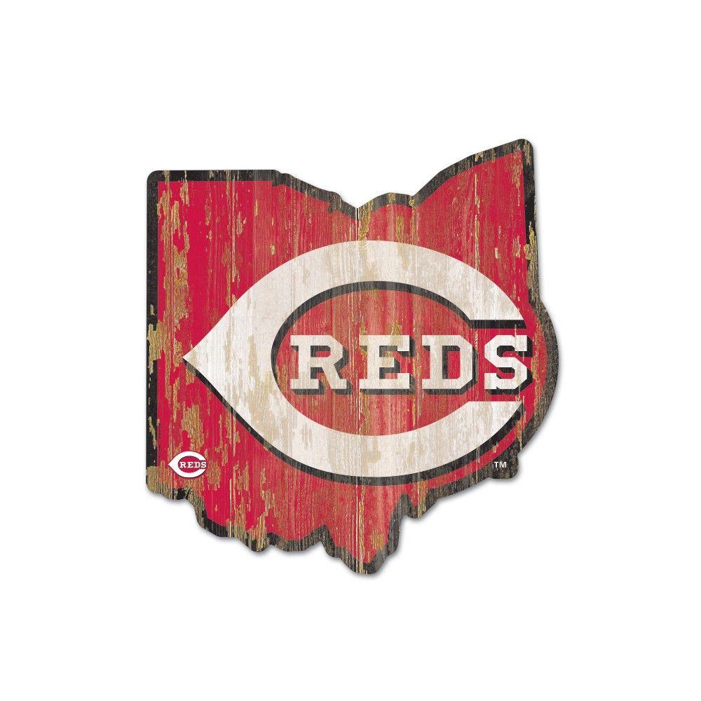 Mlb Cincinnati Reds Wood State Sign Cincinnati Reds Cincinnati Reds Art Cincinnati