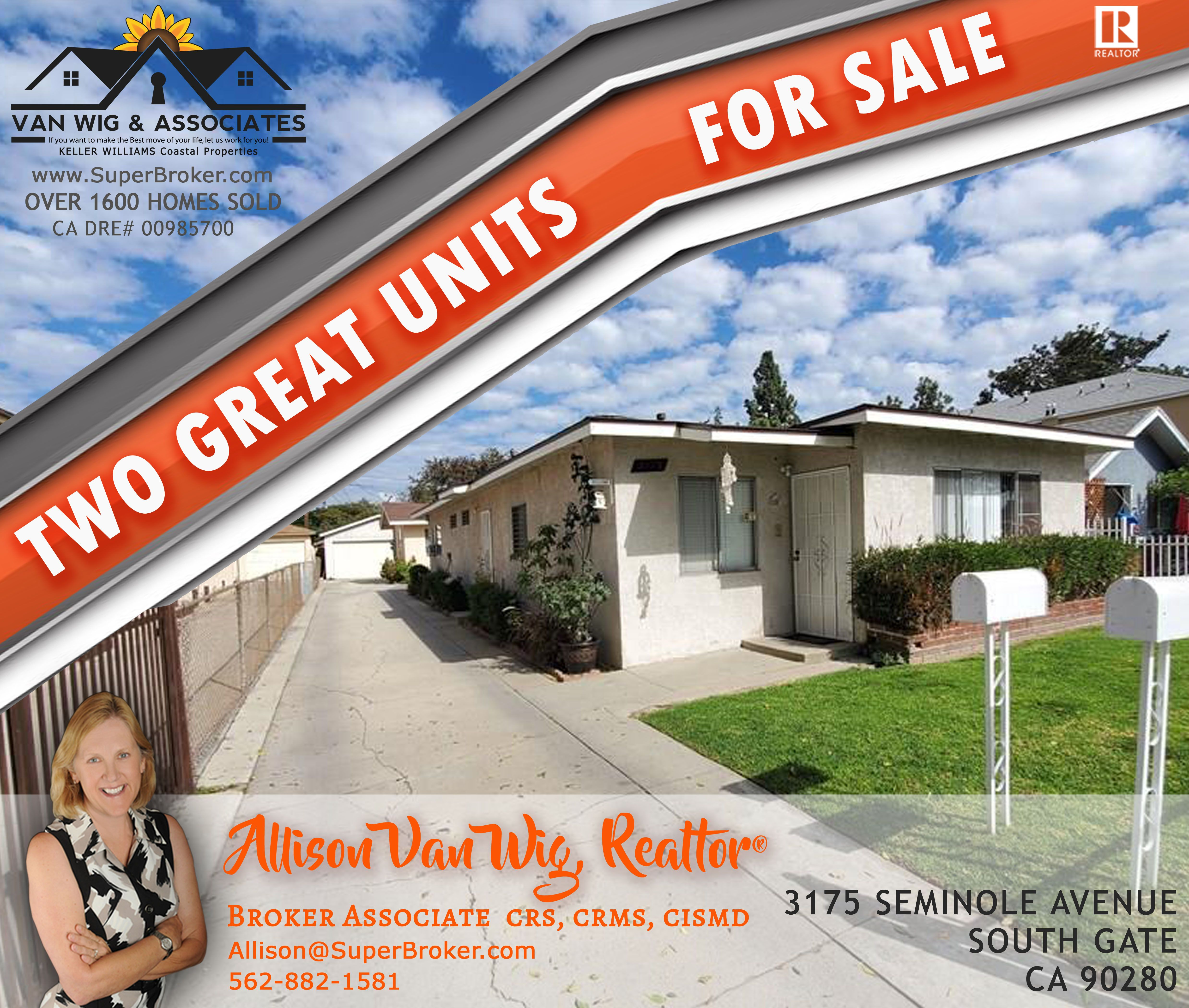 2 GREAT UNITS FOR SALE! LIVE IN ONE & RENT OUT THE OTHER