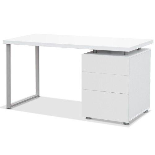 Merveilleux Office Computer Desk W/ 3 Drawer Cabinet   White