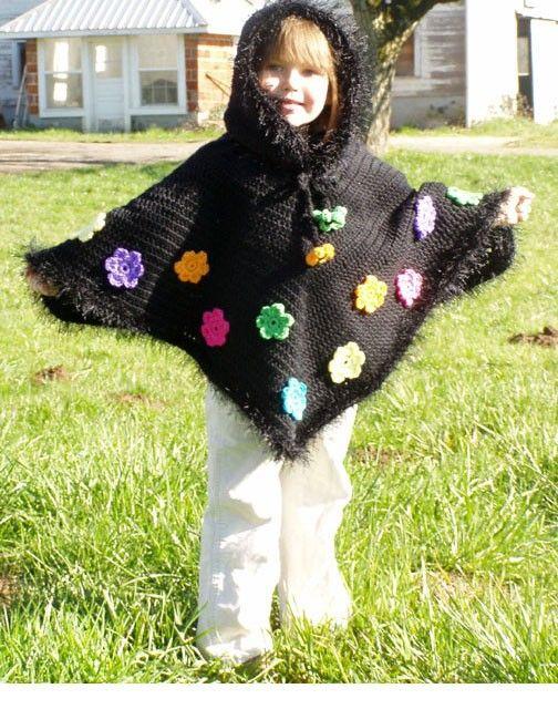 Crochet Pattern for Girls Hooded Poncho With Flowers pdf   Patrón de ...
