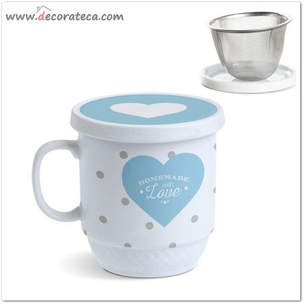 Taza de t o infusiones con filtro de metal y tapa for Tazas de te con tapa