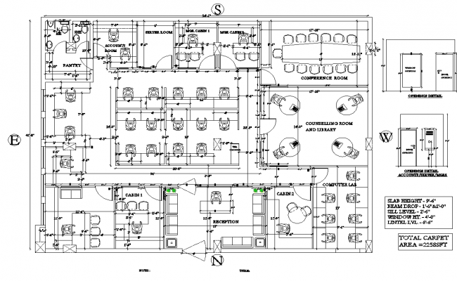 Drawing Of Office With 54 1 X 41 8 With Opening Details In Dwg File Open Office Design How To Plan Design Planning