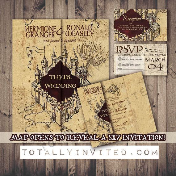harry potter wedding invitation set marauder's map - printable diy,