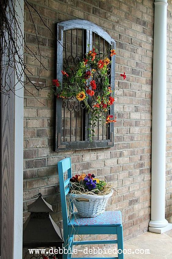 Vintage Window Floral Spring Porch Art