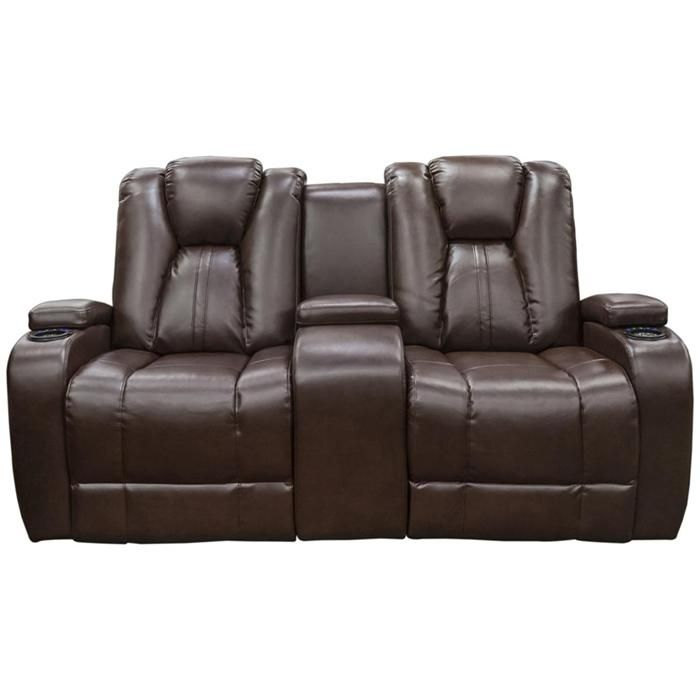 modern reclining loveseat. Reclining Loveseat With Power And Console In Naples Brown Bonded Leather | Nebraska Furniture Mart Modern