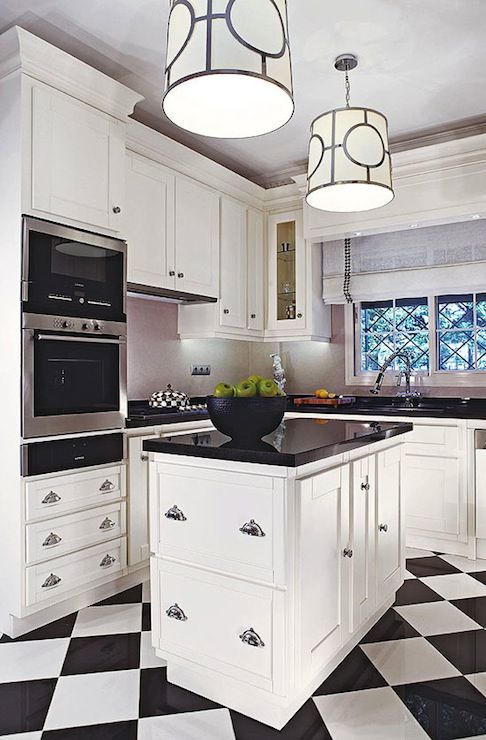 Dorya Interiors Amazing Black White Kitchen In Turkish Home With Black White Checkered
