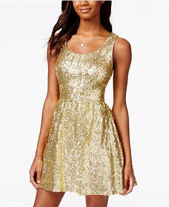 B Darlin Juniors  Sequin Bow-Back Fit-and-Flare Dress - Juniors Dresses -  Macy s 2f0a821aa
