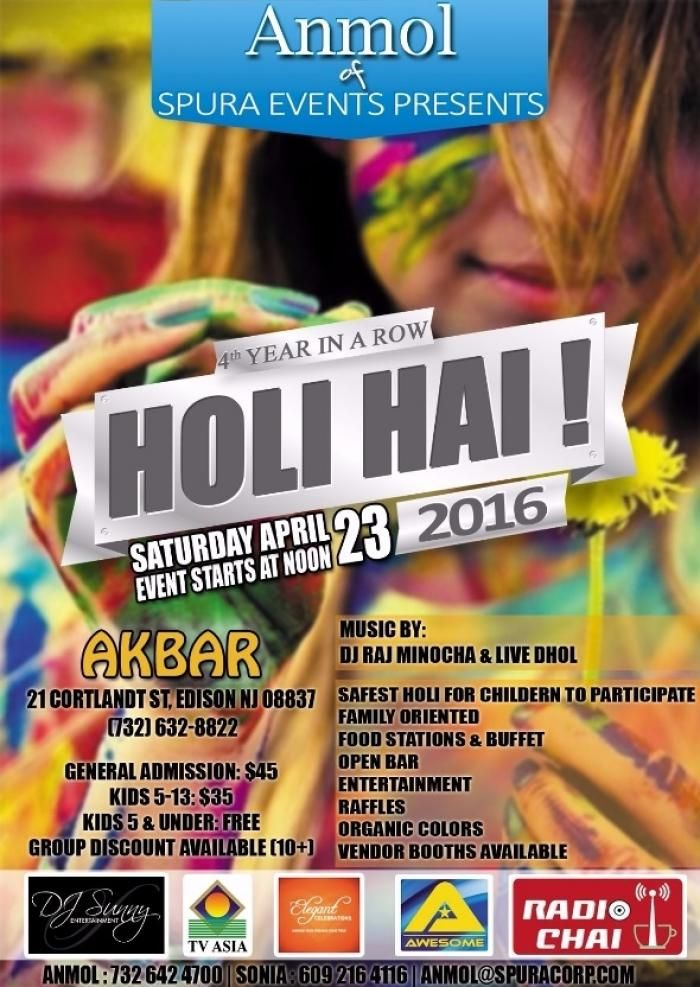 Holi Hai at Akbar Restaurant, 21 Cortlandt Street, Edison, NJ, Tickets, Indian Events Desi Events