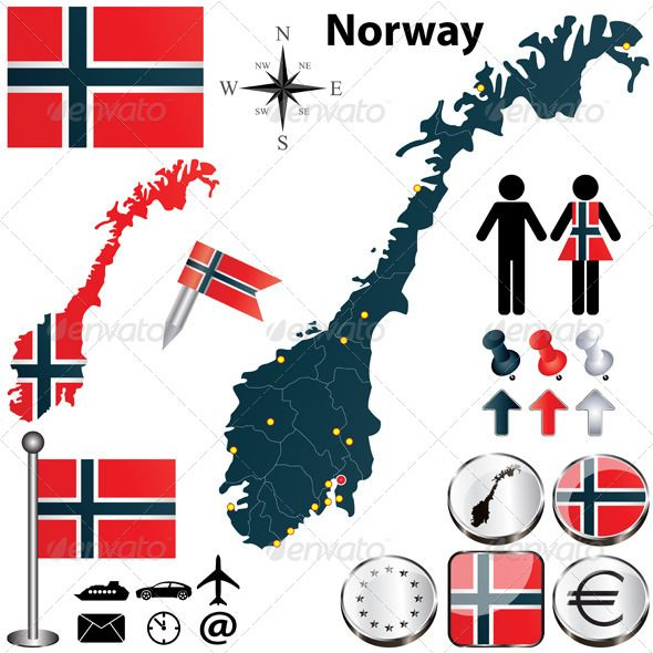 Map Of Norway Icon Package And European Flags - Norway map vector countries