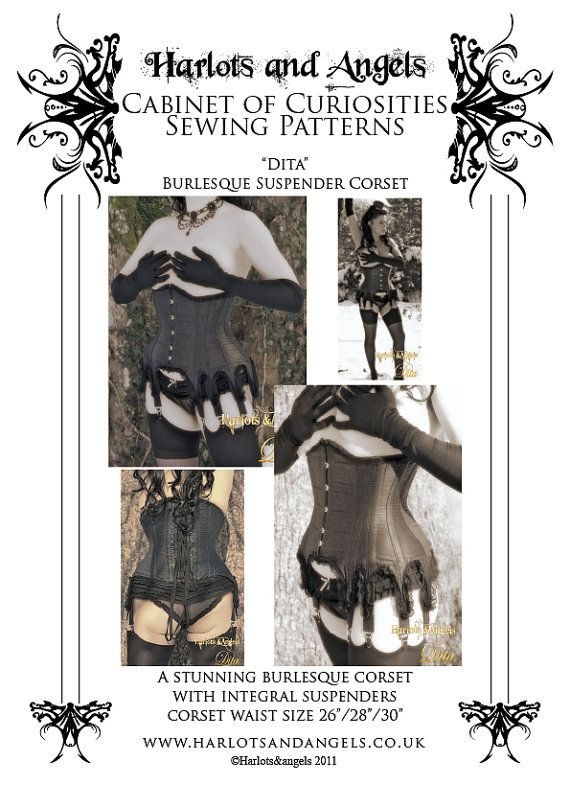 Burlesque Underbust Corset Paper Sewing Pattern with suspenders ...