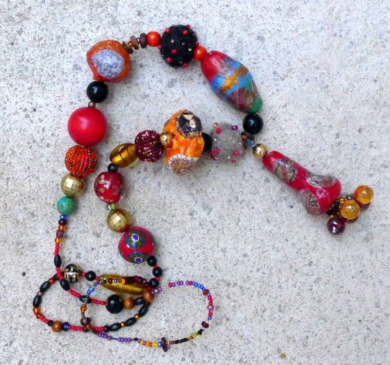Fantasy colorful summer necklace paper mache, felted beads  and recycled beads pop art boho style