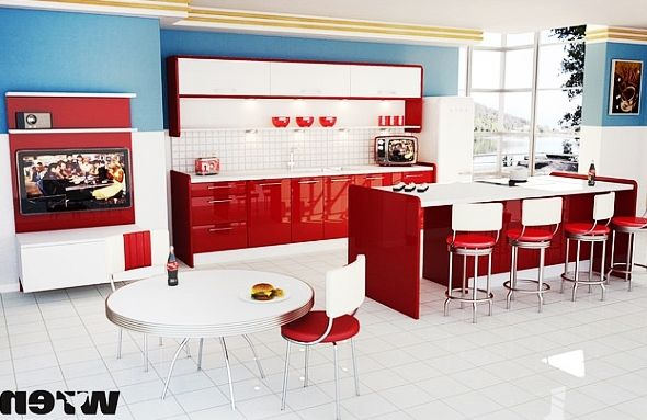 Lovely Modern and Ergonomic home Kitchen Interior Involving Red and White Cabinetry to Hit Blue Painted Wall : Inspirational Interior and Exterior Home Design Ideas – TheMakaroni.com