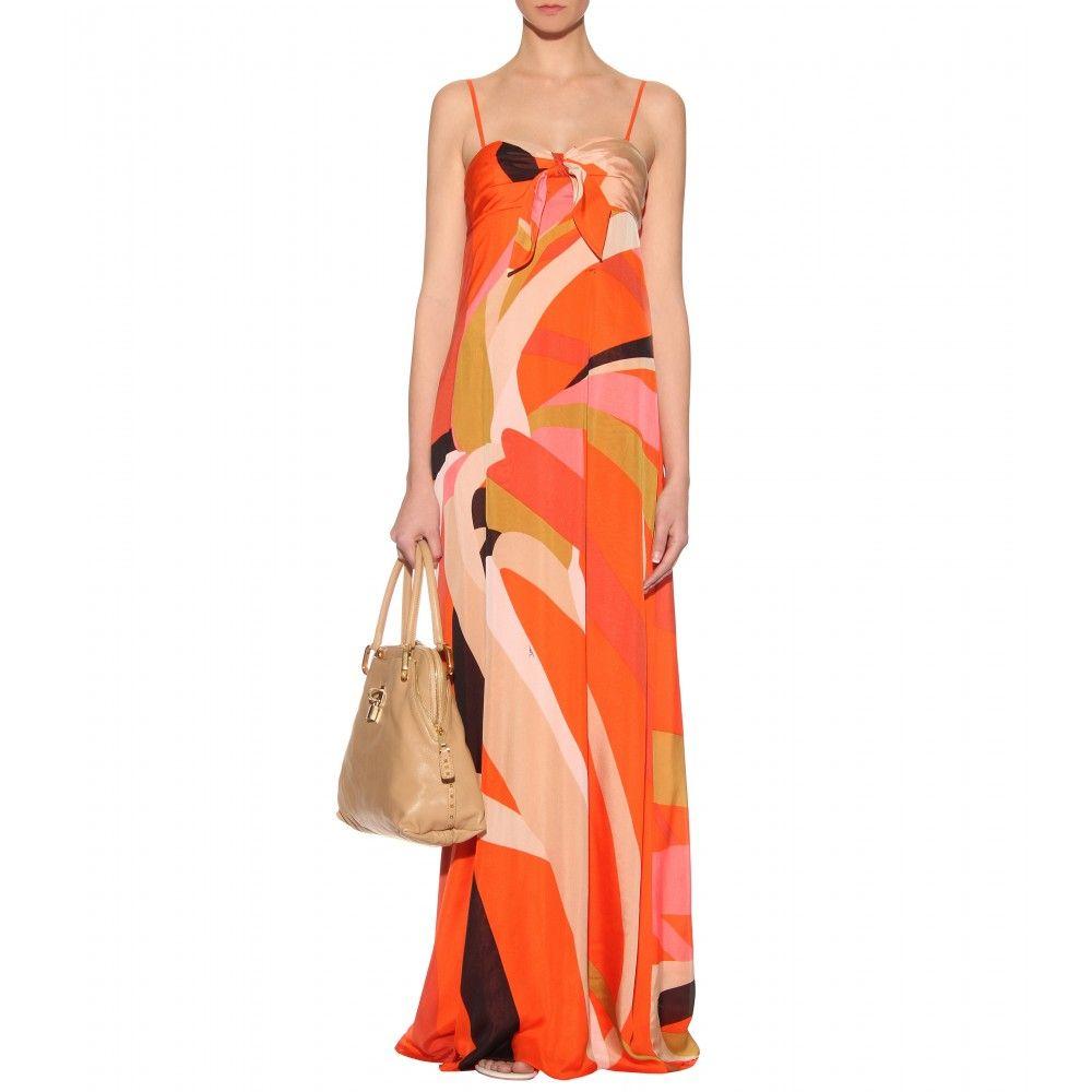 ISSA - long silk print dress 01